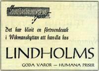 Annons från Lindholms