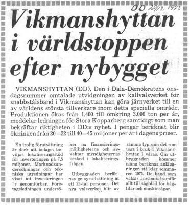Rubrik, Dala-Demokraten 20 december 1973