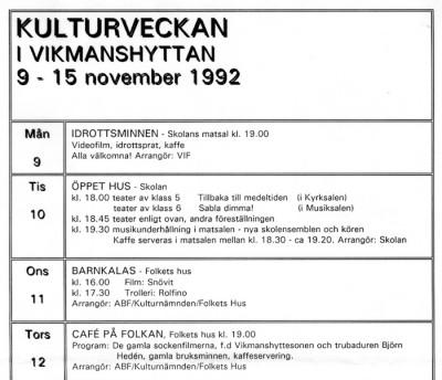 Del av programmet för 1992 års kulturvecka