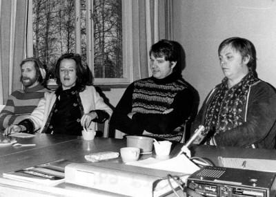 Cirkeldeltagarna Åke Carlsson, Bertil Tallberg & Ulf Persson. Ledare Birgitta Eklöf