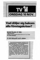 """TV-programmet onsdagen 10 nov 1976 """"Bort från Byn"""""""