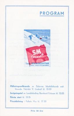 Sm i slalom. Programmets förstasida.