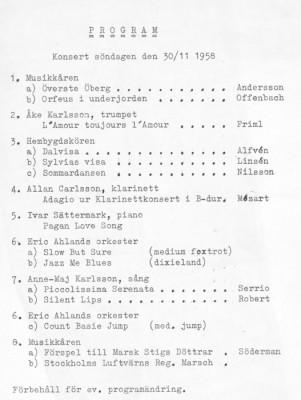 Programblad 1958