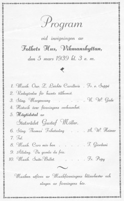 Programblad 1939