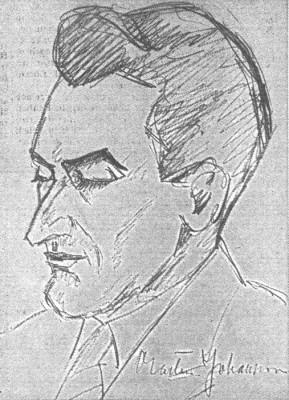 Teckning föreställande den framgångsrike schackspelaren Martin Jjohansson