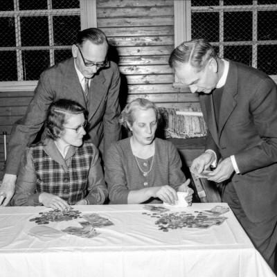 Alfred Hedström, Edith Hedström, Greta Törnquist & Karl-Axel Forsgren räknar välkomna penningar