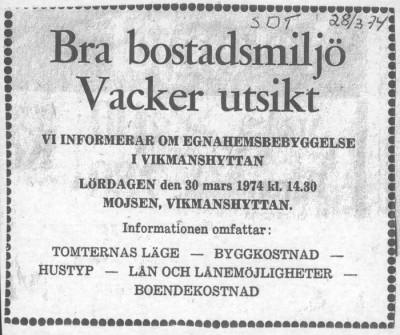 Tidningsannons från mars 1974
