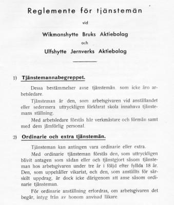 Del av första sidan i reglementsboken