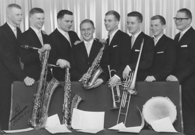 Eric Ahlans orkester 1960. Fr.v.: Sune Hjorth, Stig Hellberg, Karl-Erik Bergman, Allan Carlsson, Åke Karlsson, Georg Stålberg, Sven-Eric Sälgström och Olle Lindholm