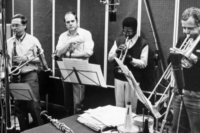 Allan, Åke och Georg i studion med Willie Cook.